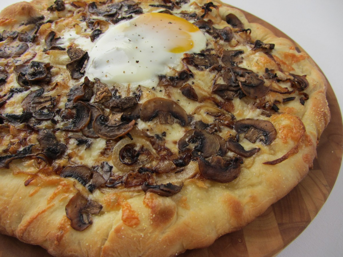 Caramelized Onion And Mushroom Pizza With Truffle Oil And