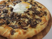 Caramelized Onion and Mushroom Pizza with Truffle Oil and Egg