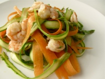 Shaved Asparagus and Carrot Salad with Shrimp