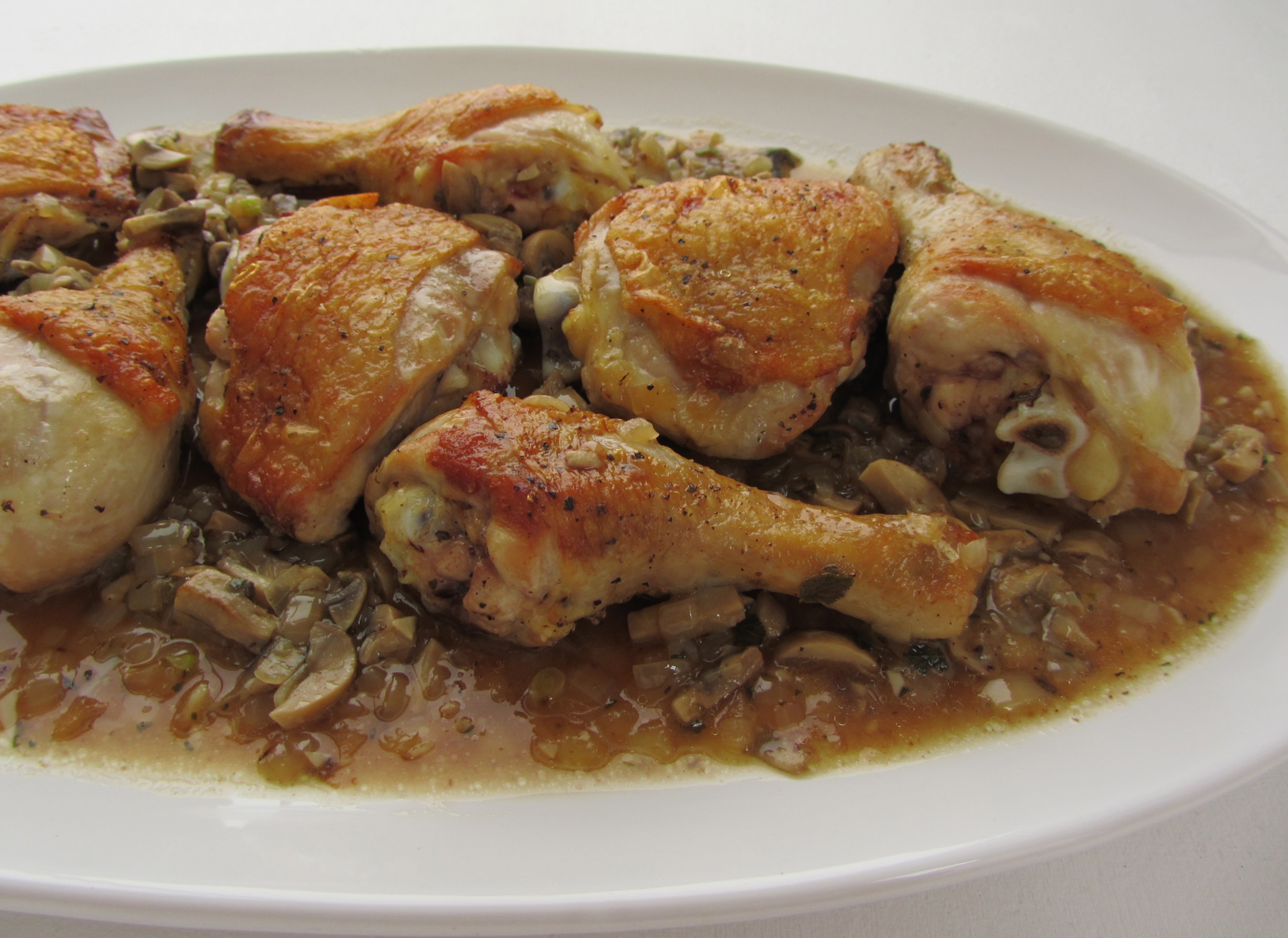 Skillet Braised Chicken with Mushroom Sauce | I'm Not A Cook