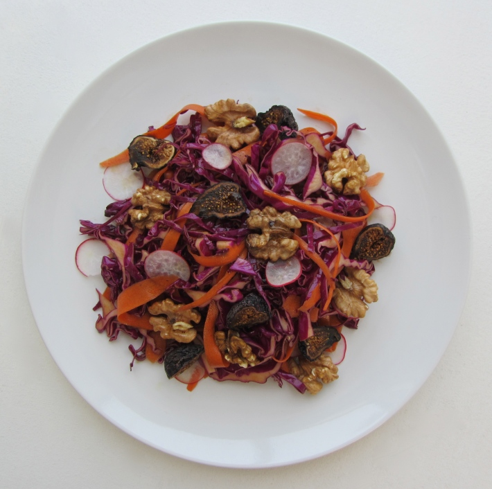 Purple Cabbage and Carrot Ribbon Salad with Walnuts and Mission Figs